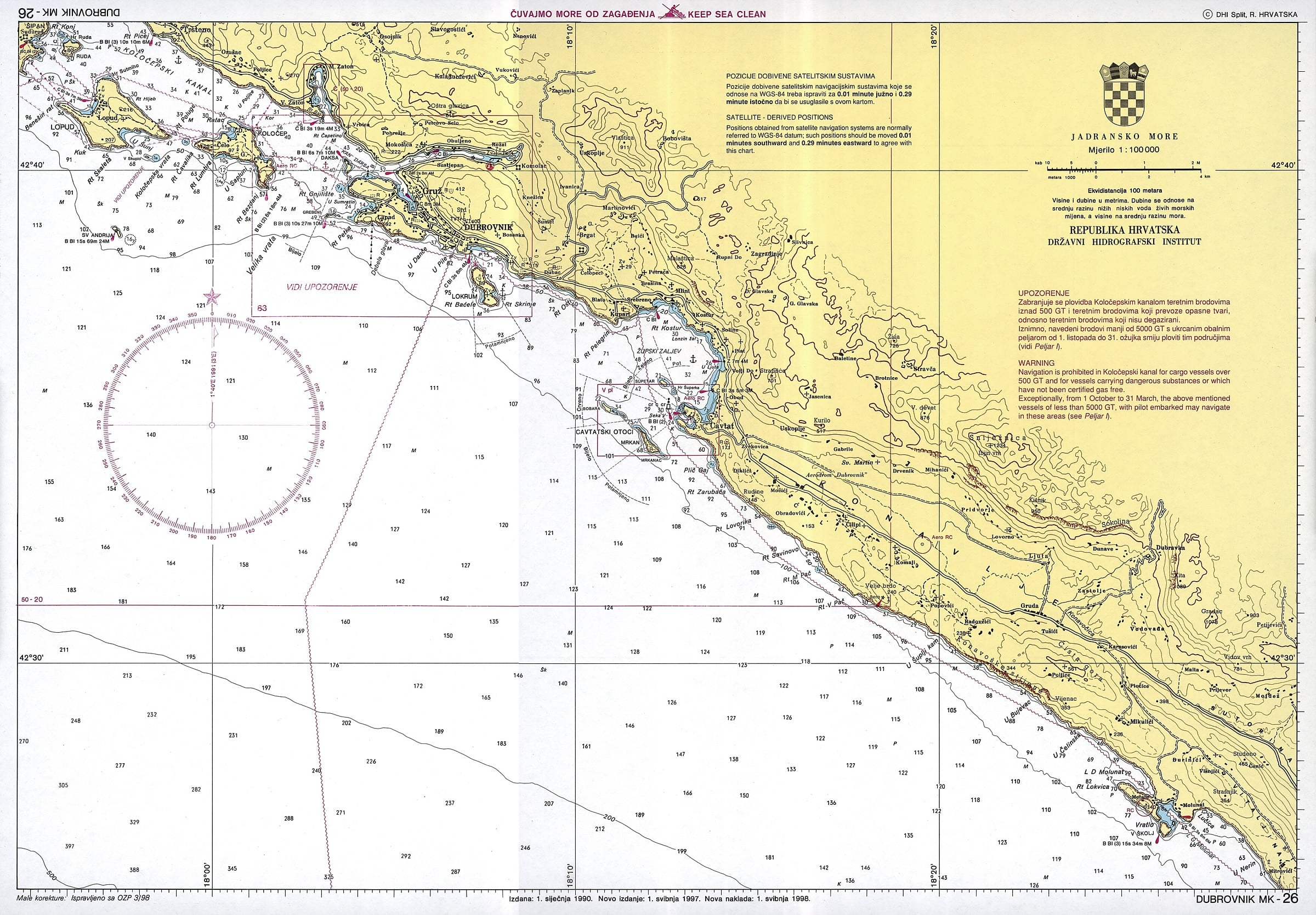 Karte Split Dubrovnik.Croatian Nautical Charts